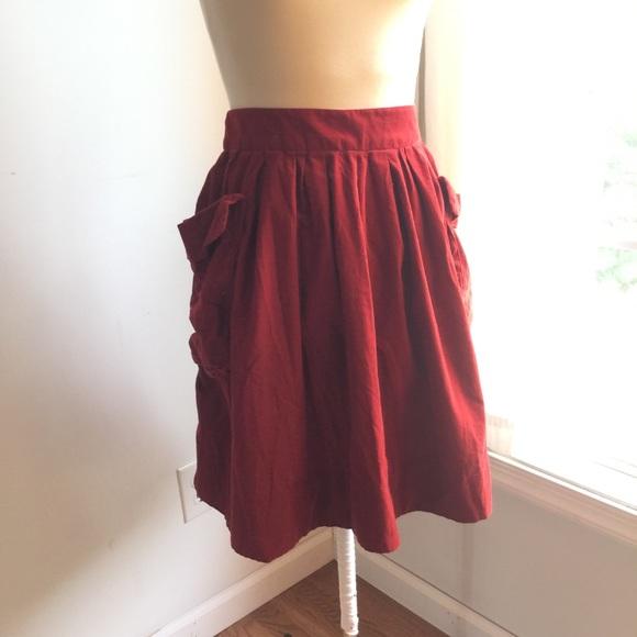 ebc40ce018 Anthropologie Skirts   Maeve Brick Red Skirt   Poshmark